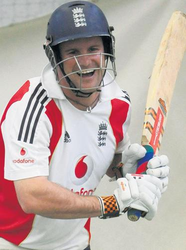 England captain Andrew Strauss looks relaxed during an indoor nets session at Edgbaston yesterday