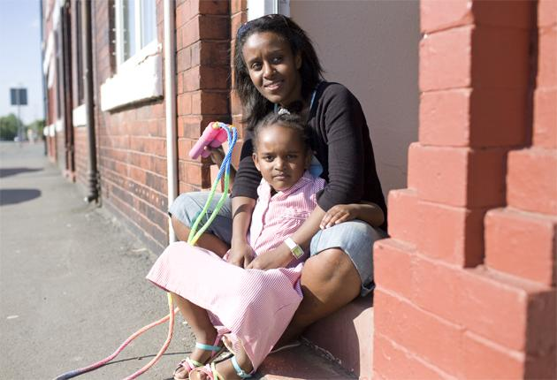 Eritrean refugee Sysay Tedros, pictured with her daughter, fled to the UK when her father was jailed