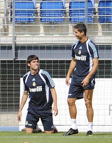 Kaka (left) pictured with fellow new boy Ronaldo