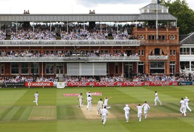 Andrew Flintoff celebrates his five-for on bended knee at Lord's earlier this month. The old ground will have to bid to host an Ashes Test in the 2013 series