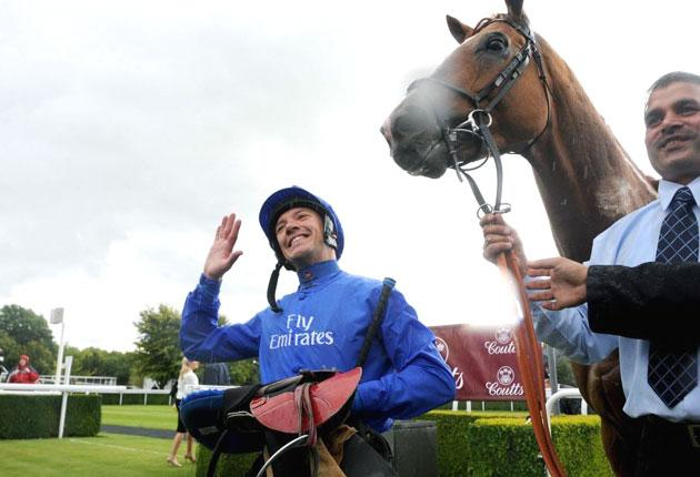 Jockey Frankie Dettori is all smiles after landing the Group Two Goodwood Cup on the Godolphin-owned Schiaparelli yesterday