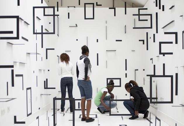 Dangerous corners: Esther Stocker's untitled foamboard exhibit in the boundary-defying show 'Beyond These Walls'