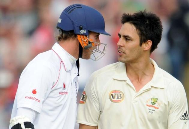 Stuart Broad and Mitchell Johnson exchange words as the Australian produced an improved spell of bowling to take two wickets