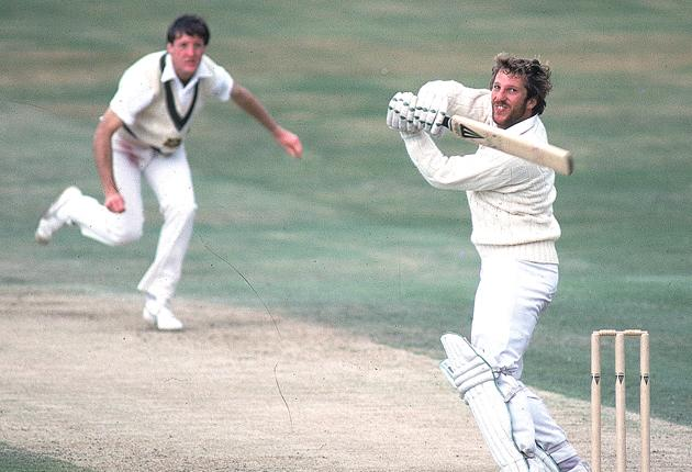 Ian Botham hooks a ball from Geoff Lawson at Headingley in 1981