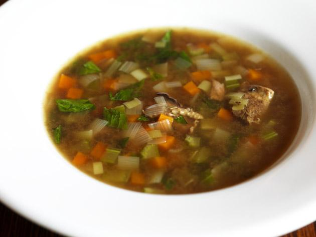 Use a couple of the grouse carcasses to make grouse broth