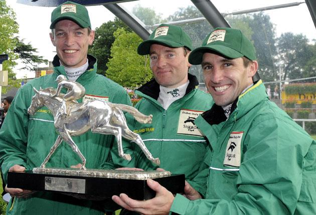 Ireland's team of Richard Hughes (left), Seamus Heffernan (centre) and Neil Callan celebrate after winning the Shergar Cup at Ascot on Saturday, taking four of the six races. Team captain Hughes won the Silver Saddle for being the day's top jockey after r
