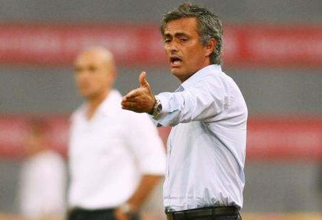 Jose Mourinho makes a point during Inter's visit to Beijing