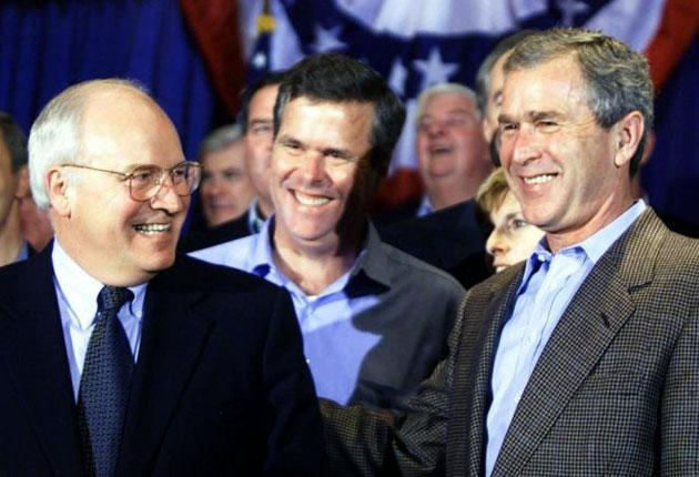 A delighted Dick Cheney with George W Bush shortly before his election as president in 2000; before the smiles started to fade