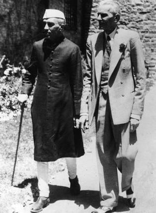 Jawaharlal Nehru, left, with Mohammad Ali Jinnah in 1946