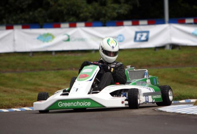A Formula Zero racing car powered by a hydrogen fuel cell
