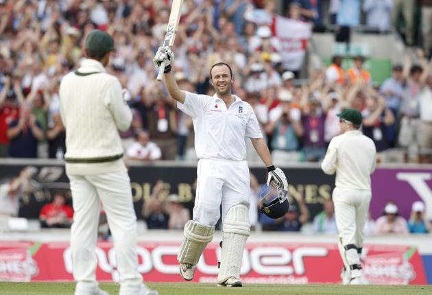 Hot to Trott: Australia captain Ricky Ponting can only look on as England batsman Jonathan Trott celebrates reaching three figures on his Test debut at The Oval