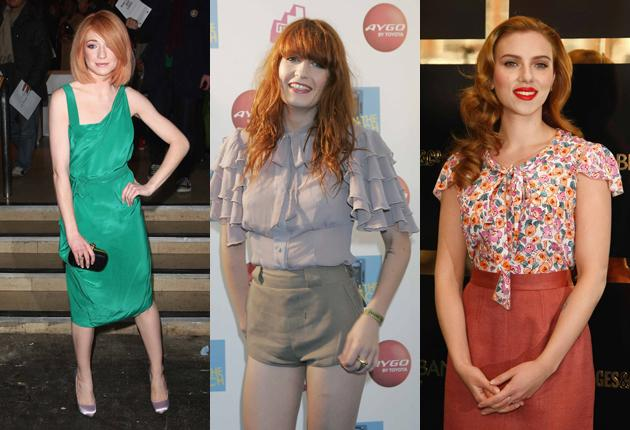 From left: Nicola Roberts of Girls Aloud; Florence Welch of Florence and the Machine and film star Scarlett Johansson
