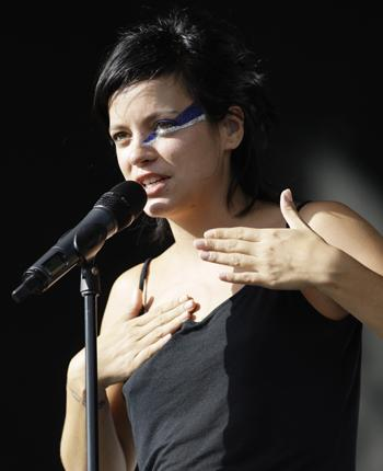 A Bowie-style Lily Allen on stage at the V