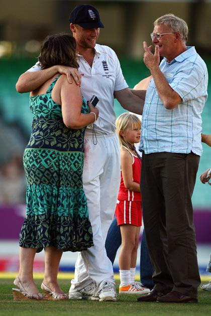 Andrew Flintoff of England and his family pictured at the Oval