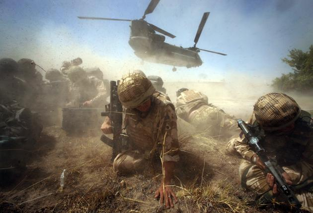 British troops in Helmand province recently. Last month was the deadliest for UK forces since the Falklands war