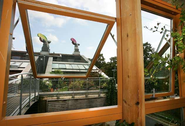 View from inside: The urban eco-village BedZED project in Surrey was the first in the UK to be built on the premise of 'zero carbon, zero energy'