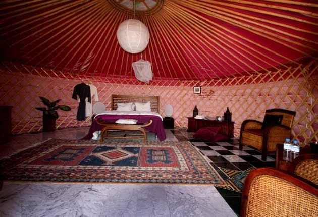 Out of Mongolia: the yurt is sturdy and cosy - with the bonus of stargazing from the bed, thanks to a flap in the roof