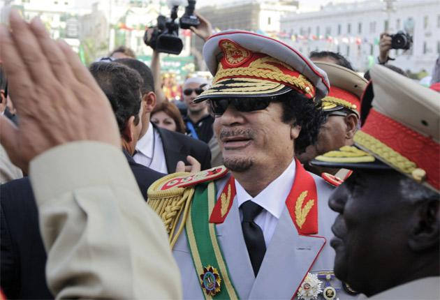 Colonel Gaddafi in Tripoli yesterday