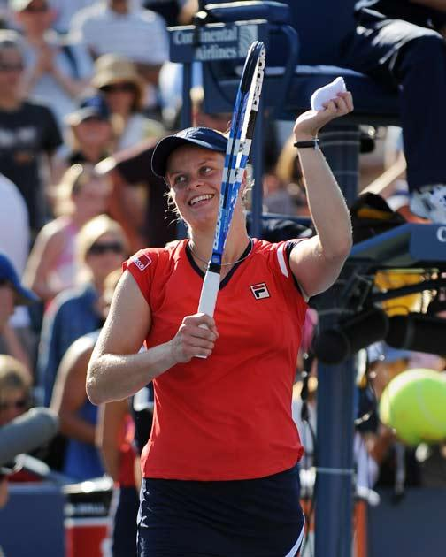 Clijsters celebrates after making progress