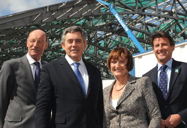 Gordon Brown at the Olympic Park's aquatic centre with Olympic Minister Tessa Jowell and Lord Coe