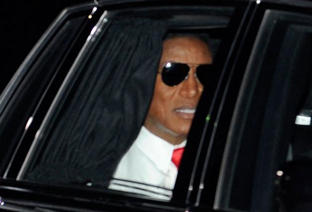 Jermaine Jackson arrives at Michael Jackson's funeral service