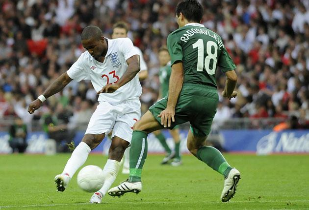 Jermain Defoe fires home his eighth goal for England in nine appearances on Saturday