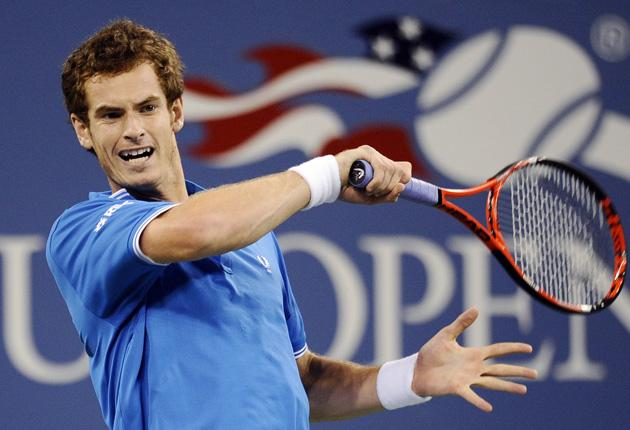 Andy Murray returns during his easy defeat of Taylor Dent in New York on Sunday