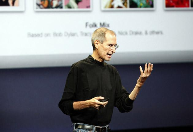 Apple CEO Steve Jobs on stage in San Francisco yesterday, where he announced a new iPod nano