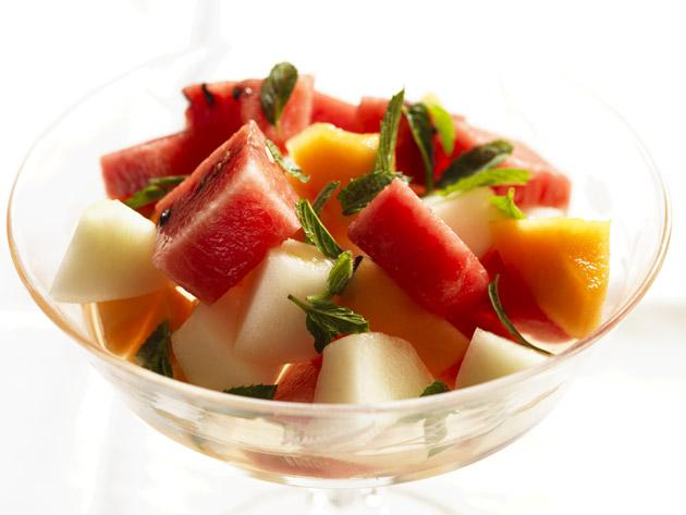 Melon salad with mint syrup