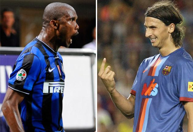 Samuel Eto'o and Zlatan Ibrahimovic swapped sides during the summer transfer window