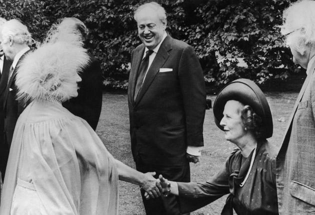The Queen Mother greets the woman she admired, Margaret Thatcher, at Clarence House in 1980 as Lord Soames looks on