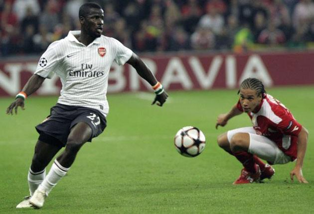 Emmanuel Eboue, seen here in UEFA Champions League action on Wednesday night, said Emmanuel Adebayor's conduct had surprised his former colleagues