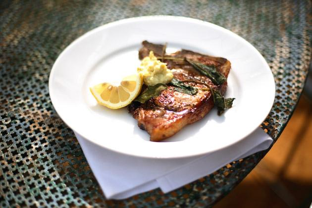 Veal chop with sage and aioli