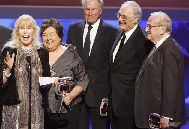 Gelbart, far right, joins some of the cast of 'M*A*S*H' at an awards ceremony in Los Angeles in April this year