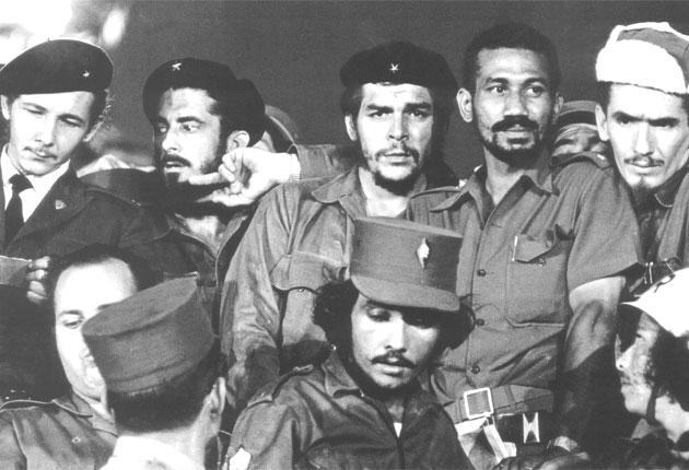 Almeida, second right at the back, next to Che Guevara in 1959 following the Cuban revolution