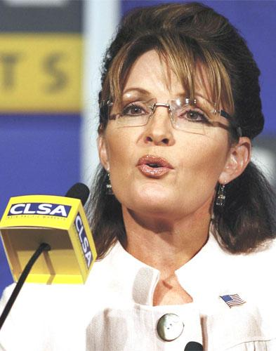 Sarah Palin addresses the annual CLSA Investors' Forum yesterday, offering her opinions on economics, politics, Alaska and the 'war on terror'