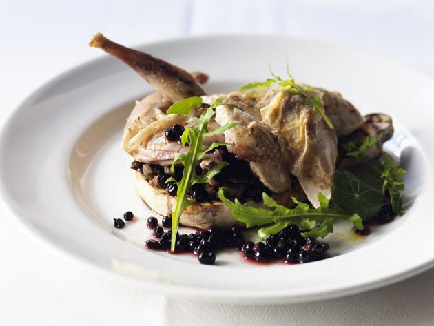 Partridge with puffball and elderberries