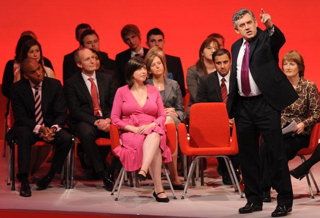 Gordon Brown, with Harriet Harman right, holds aQ&Asession with new Labour candidates in Brighton yesterday