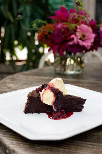Chocolate cake with damson syrup is not for the faint-hearted