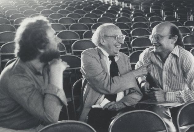 Drew (right) with the composers H.K. Gruber (left) and Aaron Copland at Tanglewood in 1980