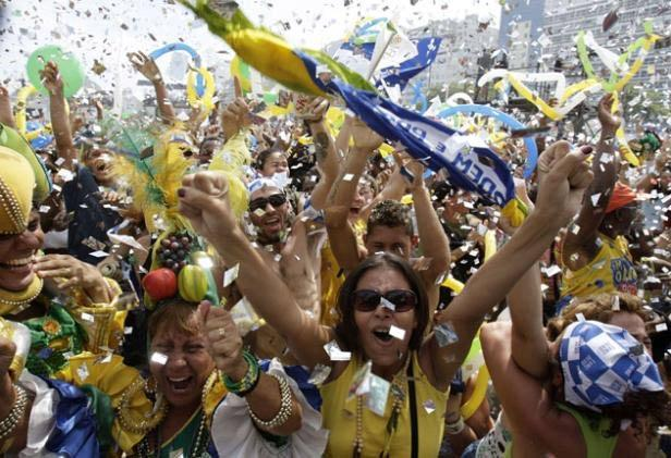 Rio celebrates after the announcement it will host the 2016 Games
