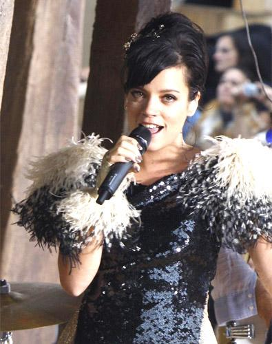 Lily Allen provided the music to Karl Lagerfeld's Chanel show in Paris yesterday