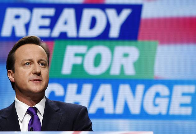 David Cameron during his keynote address on the final day of the Conservative Party conference in Manchester