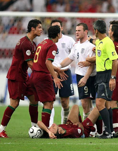 Rooney was sent off against Portugal when the teams met in the 2006 World Cup