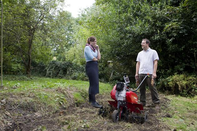 Blades of glory: Shedworking's Alex shows Emma how to get rough with a tiller
