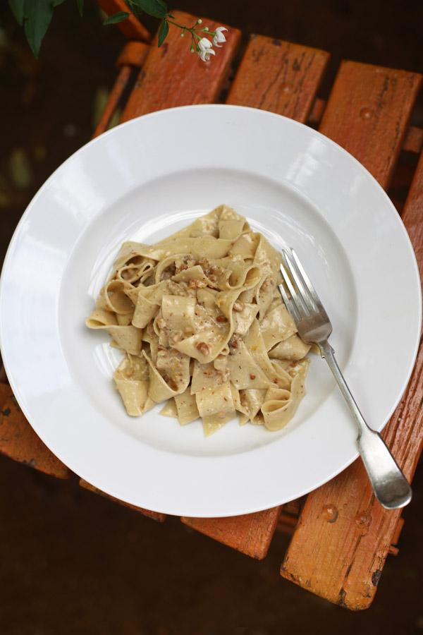 Pappardelle with walnut and Gorgonzola sauce