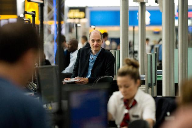 Alain de Botton pictured at Heathrow's Terminal 5