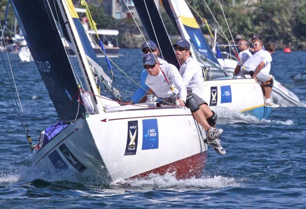 Ben Ainslie and crew ahead of reigning champion Ian Williams and on their way to the final of the Bermuda Gold Cup match race.
