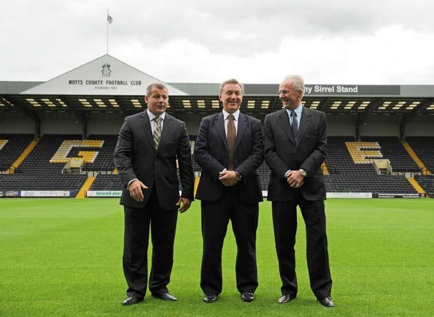 Ian McParland, (left)  pictured with Chairman Peter Trembling and Sven Goran Eriksson