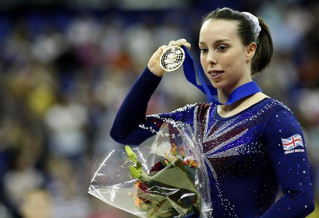 Beth Tweddle after taking gold on the floor at the O2 Arena yesterday
